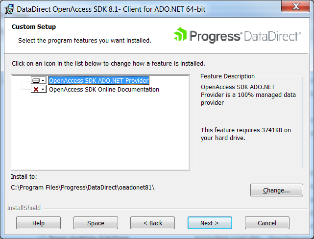 Installing the ADO NET Client on Windows